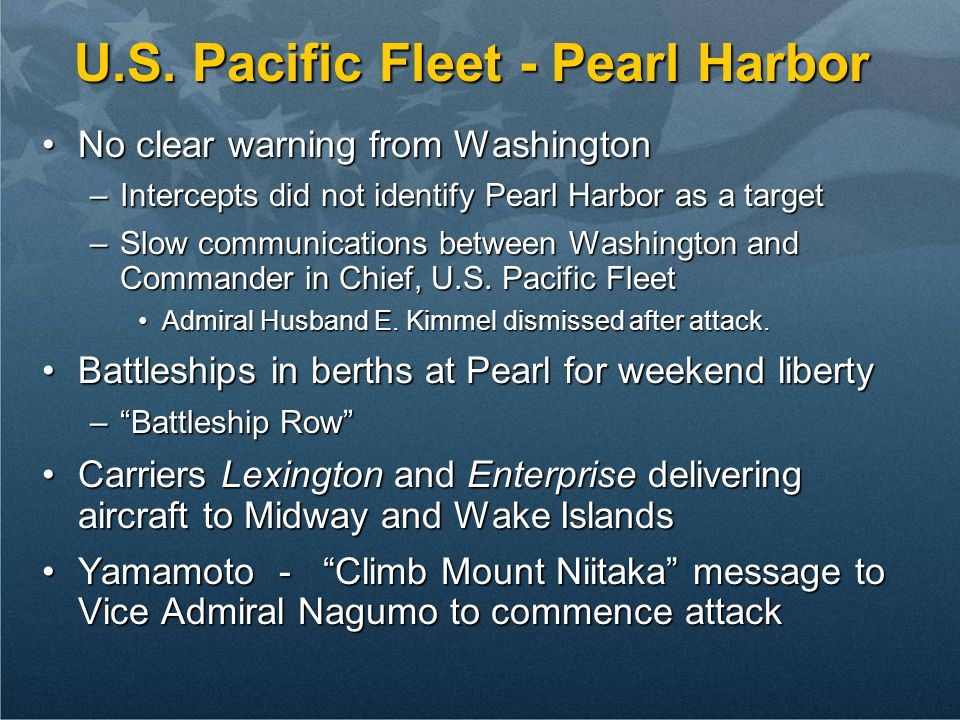 U.S. Pacific Fleet - Pearl Harbor No clear warning from WashingtonNo clear warning from Washington –Intercepts did not identify Pearl Harbor as a targ