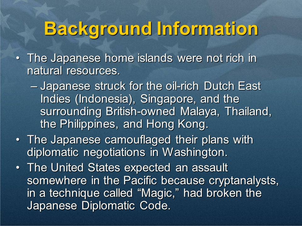 Background Information The Japanese home islands were not rich in natural resources.The Japanese home islands were not rich in natural resources.