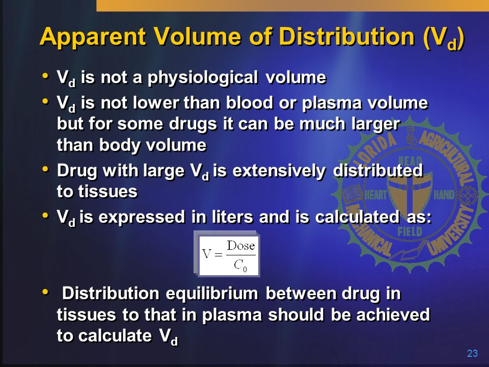 23 Apparent Volume of Distribution (V d ) V d is not a physiological volume V d is not lower than blood or plasma volume but for some drugs it can be