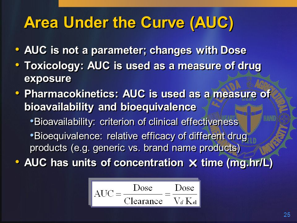 25 Area Under the Curve (AUC) AUC is not a parameter; changes with Dose Toxicology: AUC is used as a measure of drug exposure Pharmacokinetics: AUC is