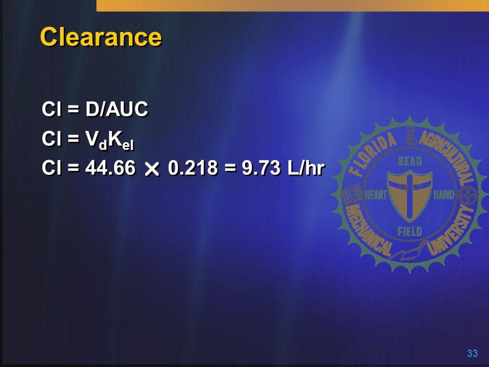 33 Clearance Cl = D/AUC Cl = V d K el Cl = 44.66 0.218 = 9.73 L/hr Cl = D/AUC Cl = V d K el Cl = 44.66 0.218 = 9.73 L/hr