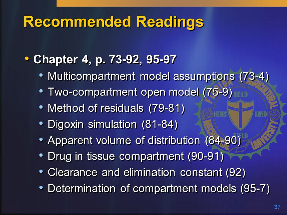 37 Recommended Readings Chapter 4, p. 73-92, 95-97 Multicompartment model assumptions (73-4) Two-compartment open model (75-9) Method of residuals (79