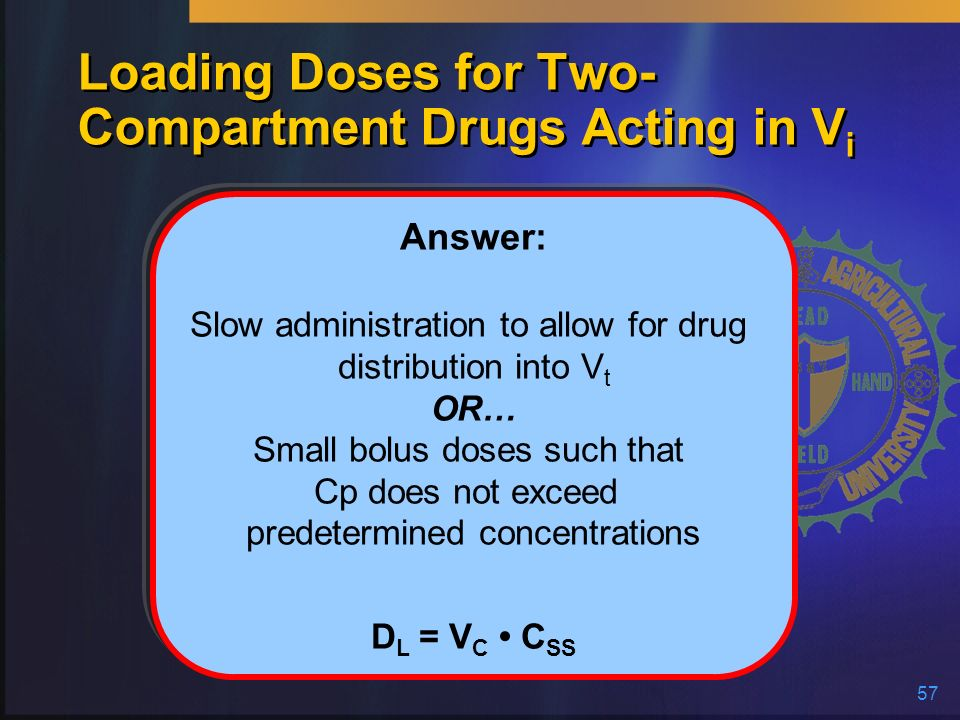 57 Loading Doses for Two- Compartment Drugs Acting in V i Answer: Slow administration to allow for drug distribution into V t OR… Small bolus doses su