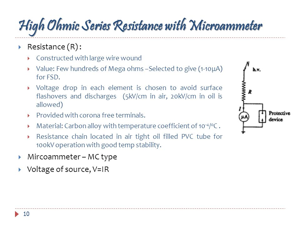 High Ohmic Series Resistance with Microammeter Resistance (R) : Constructed with large wire wound Value: Few hundreds of Mega ohms –Selected to give (