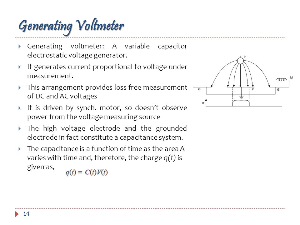 Generating Voltmeter 14 Generating voltmeter: A variable capacitor electrostatic voltage generator. It generates current proportional to voltage under