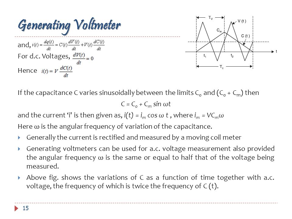 15 and, For d.c. Voltages, Hence If the capacitance C varies sinusoidally between the limits C 0 and (C 0 + C m ) then C = C 0 + C m sin ωt and the cu