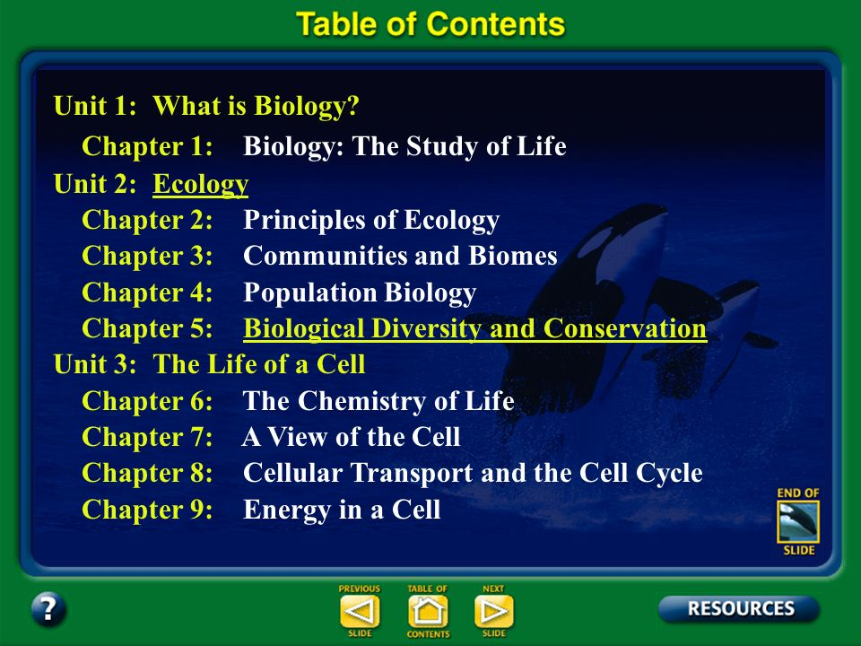 Table of Contents – pages iii Unit 1: What is Biology? Unit 2: EcologyEcology Unit 3: The Life of a Cell Unit 4: Genetics Unit 5: Change Through Time