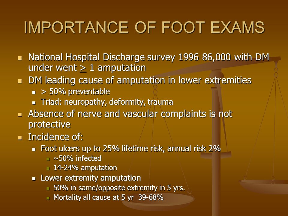RISK FACTORS FOR FOOT ULCER Poor glycemic control Poor glycemic control Visual impairment Visual impairment Previous foot ulcer/amputation Previous foot ulcer/amputation Peripheral neuropathy Peripheral neuropathy PAD PAD Foot deformity Foot deformity DM nephropathy DM nephropathy Cigarette smoking Cigarette smoking