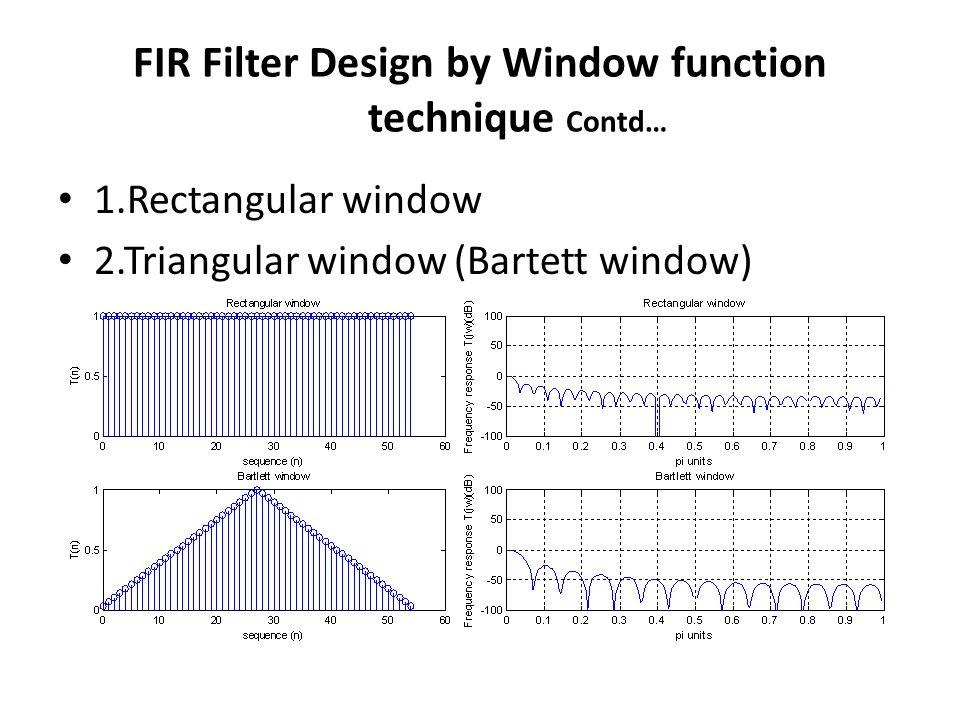 FIR Filter Design by Window function technique Contd… 1.Rectangular window 2.Triangular window (Bartett window)
