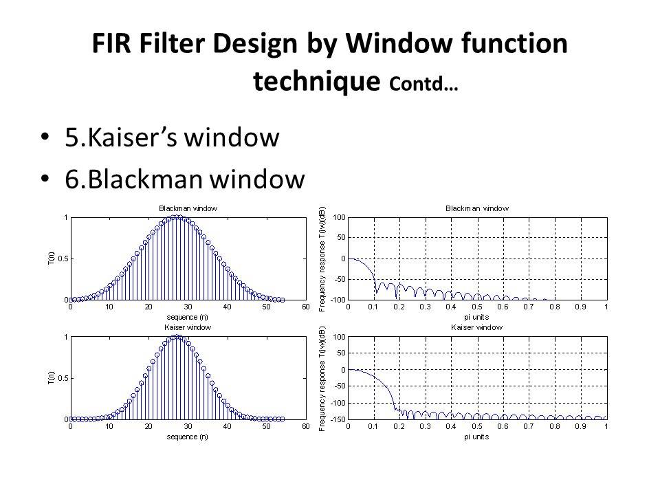 5.Kaisers window 6.Blackman window FIR Filter Design by Window function technique Contd…