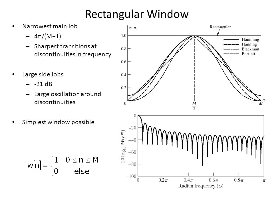 Rectangular Window Narrowest main lob – 4 /(M+1) – Sharpest transitions at discontinuities in frequency Large side lobs – -21 dB – Large oscillation a