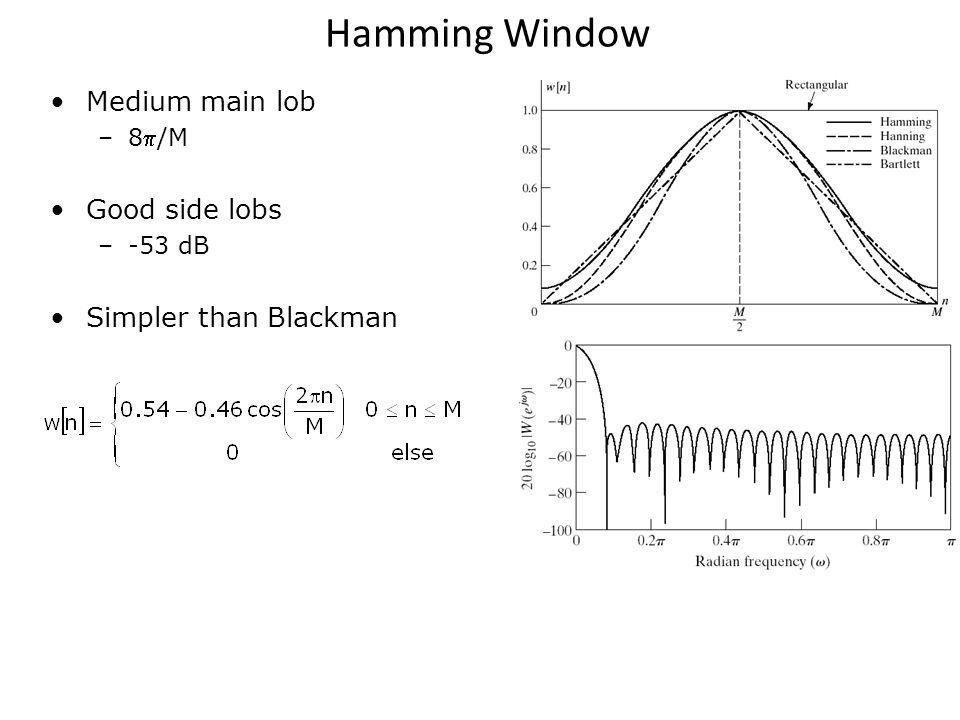 Hamming Window Medium main lob –8/M Good side lobs –-53 dB Simpler than Blackman