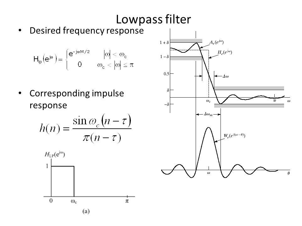Lowpass filter Desired frequency response Corresponding impulse response