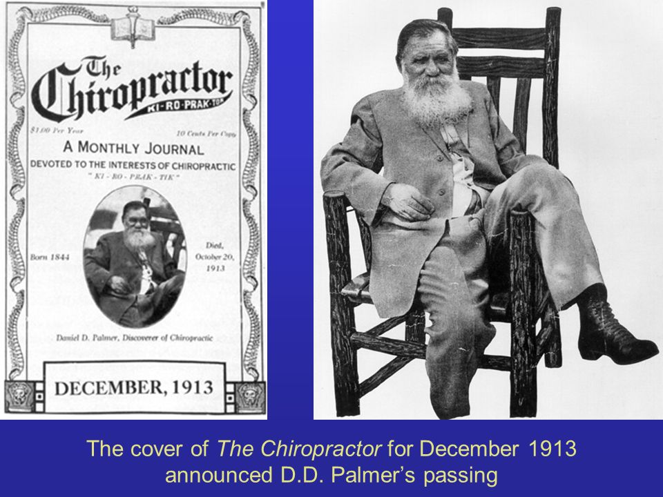 The cover of The Chiropractor for December 1913 announced D.D. Palmers passing