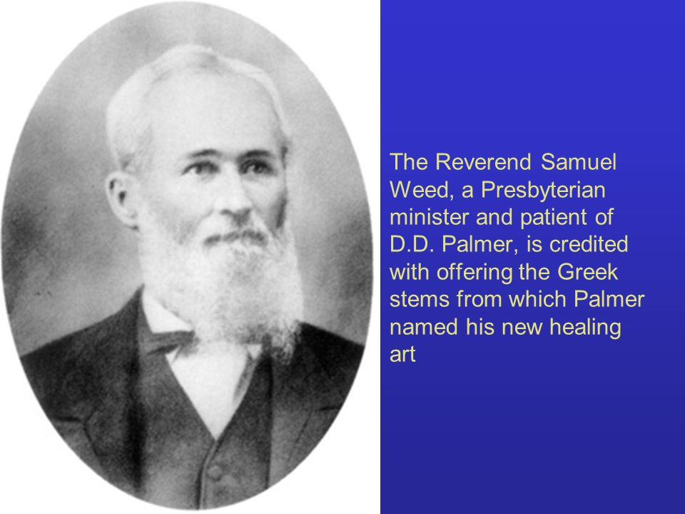 The Reverend Samuel Weed, a Presbyterian minister and patient of D.D. Palmer, is credited with offering the Greek stems from which Palmer named his ne