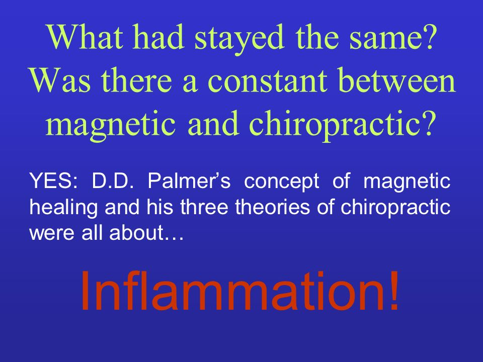 What had stayed the same? Was there a constant between magnetic and chiropractic? YES: D.D. Palmers concept of magnetic healing and his three theories