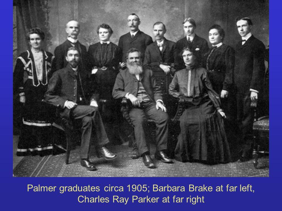 Palmer graduates circa 1905; Barbara Brake at far left, Charles Ray Parker at far right