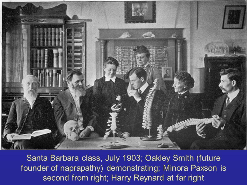 Santa Barbara class, July 1903; Oakley Smith (future founder of naprapathy) demonstrating; Minora Paxson is second from right; Harry Reynard at far ri
