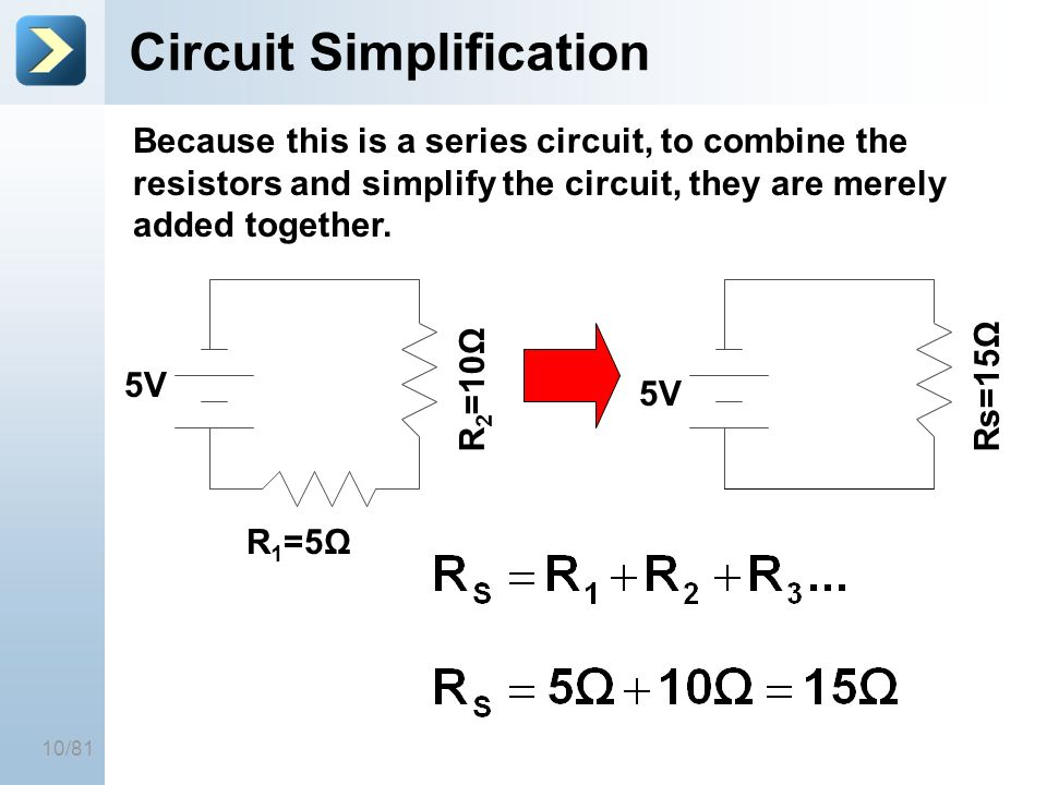 10/81 Circuit Simplification R 2 =10Ω R 1 =5Ω 5V Because this is a series circuit, to combine the resistors and simplify the circuit, they are merely