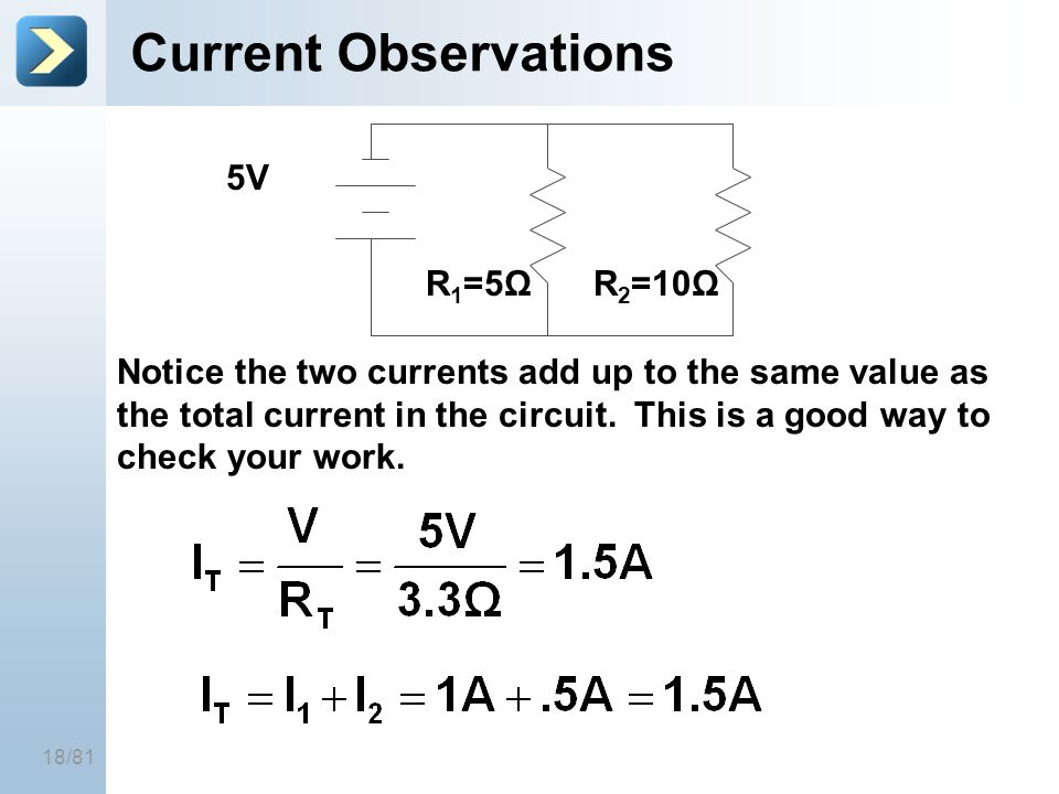 18/81 Current Observations 5V R 1 =5ΩR 2 =10Ω Notice the two currents add up to the same value as the total current in the circuit. This is a good way