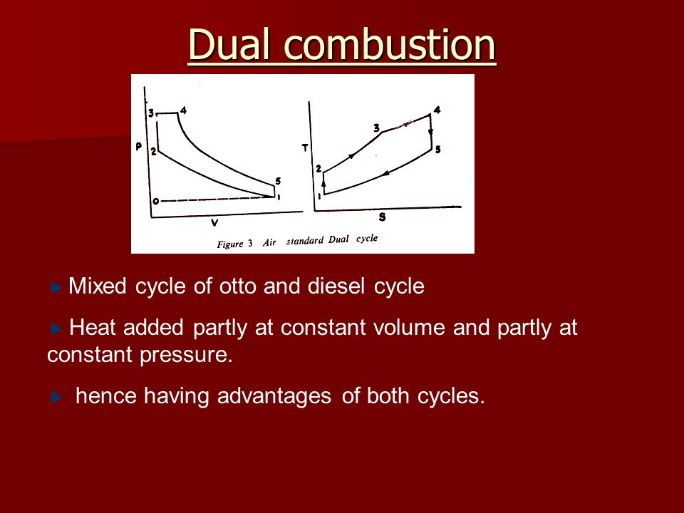 Dual combustion Mixed cycle of otto and diesel cycle Heat added partly at constant volume and partly at constant pressure. hence having advantages of