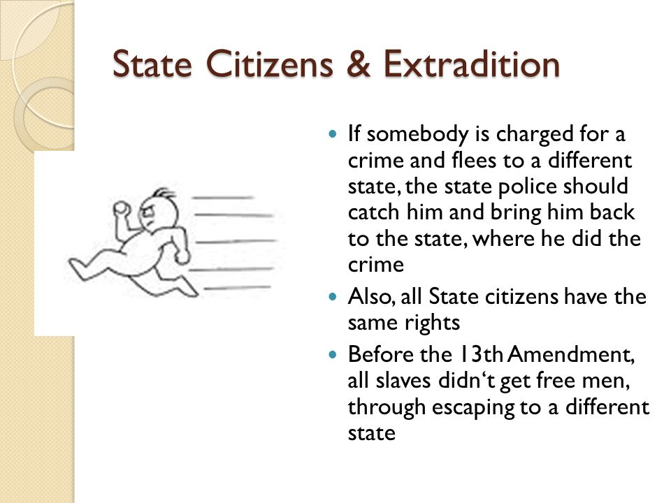 State Citizens & Extradition If somebody is charged for a crime and flees to a different state, the state police should catch him and bring him back to the state, where he did the crime Also, all State citizens have the same rights Before the 13th Amendment, all slaves didnt get free men, through escaping to a different state