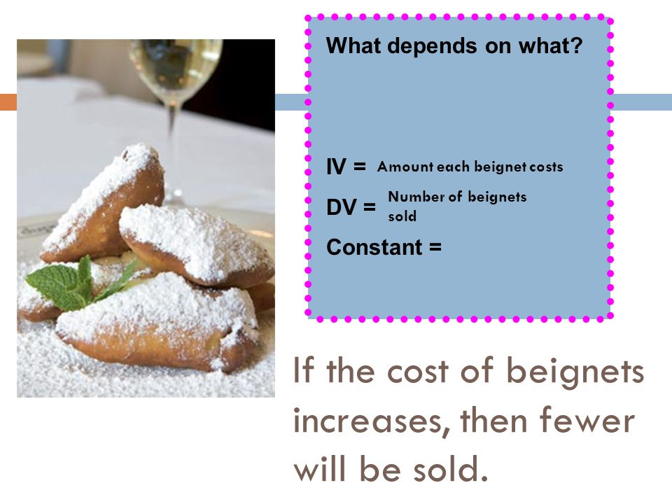 If the cost of beignets increases, then fewer will be sold. What depends on what? IV = DV = Constant = Amount each beignet costs Number of beignets so