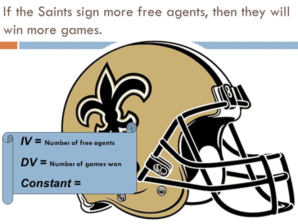 IV = Number of free agents DV = Number of games won Constant = If the Saints sign more free agents, then they will win more games.