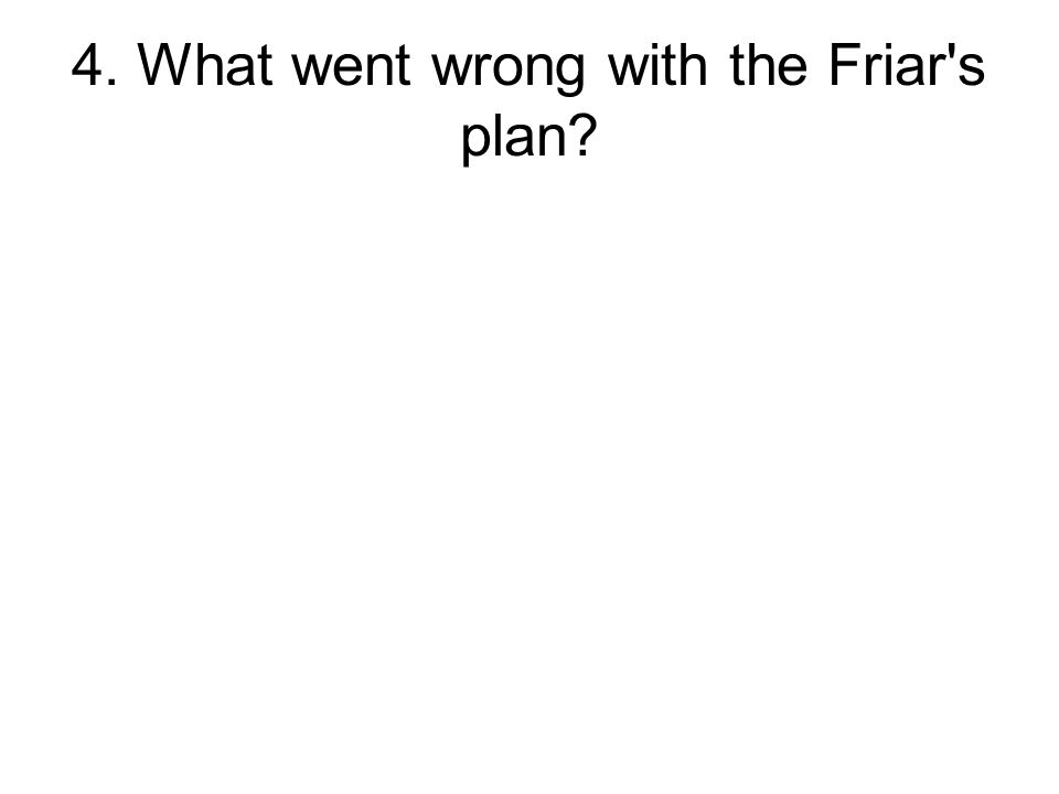 4. What went wrong with the Friar s plan