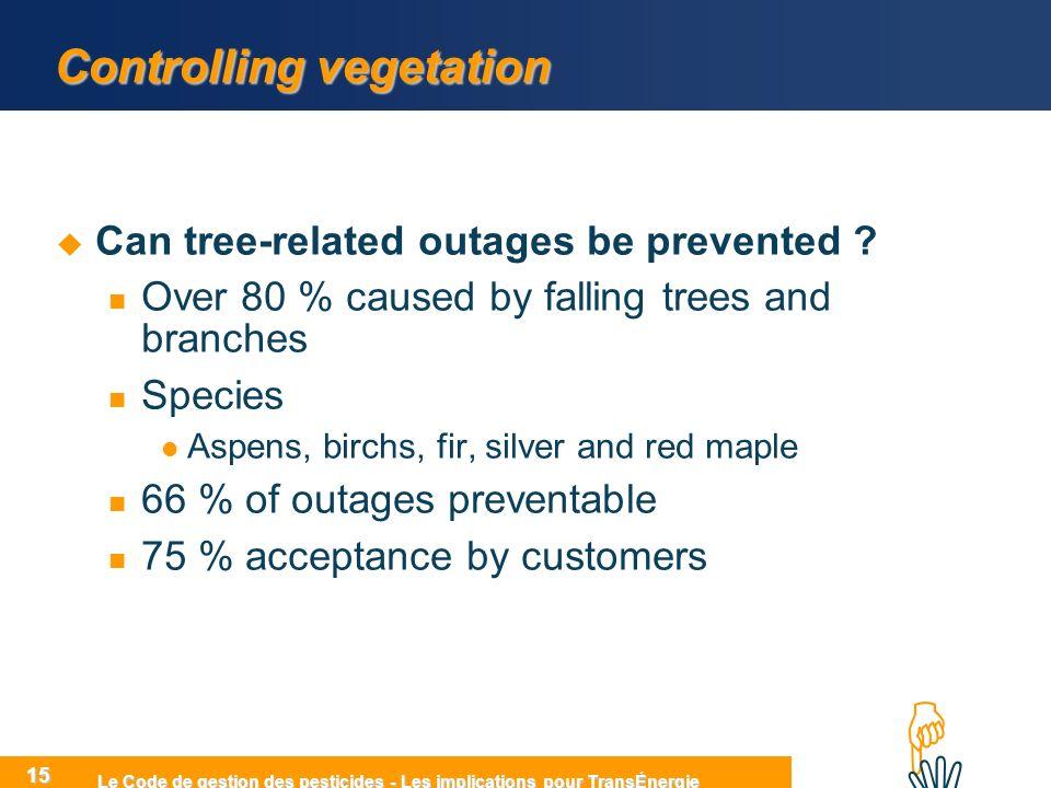 HIHI Le Code de gestion des pesticides - Les implications pour TransÉnergie 15 Controlling vegetation Can tree-related outages be prevented .