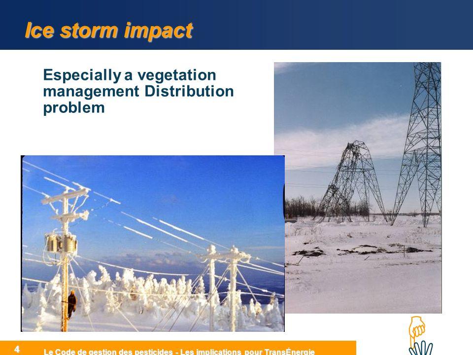 HIHI Le Code de gestion des pesticides - Les implications pour TransÉnergie 4 Ice storm impact Especially a vegetation management Distribution problem