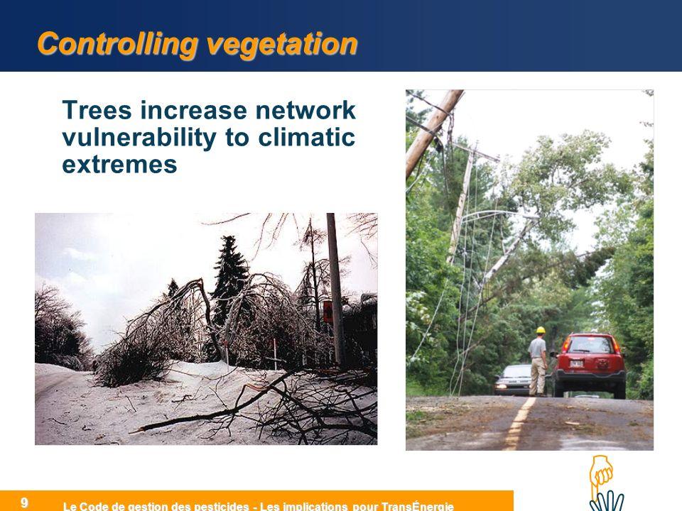 HIHI Le Code de gestion des pesticides - Les implications pour TransÉnergie 9 Controlling vegetation Trees increase network vulnerability to climatic extremes