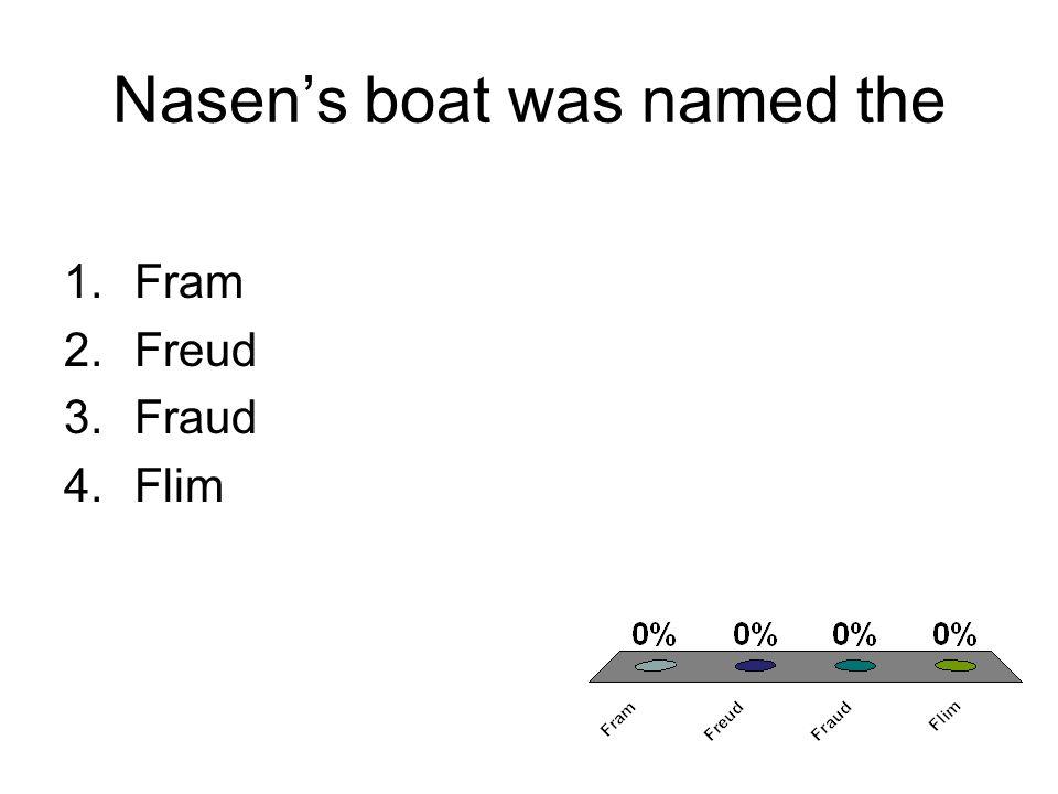 Nasens boat was named the 1.Fram 2.Freud 3.Fraud 4.Flim