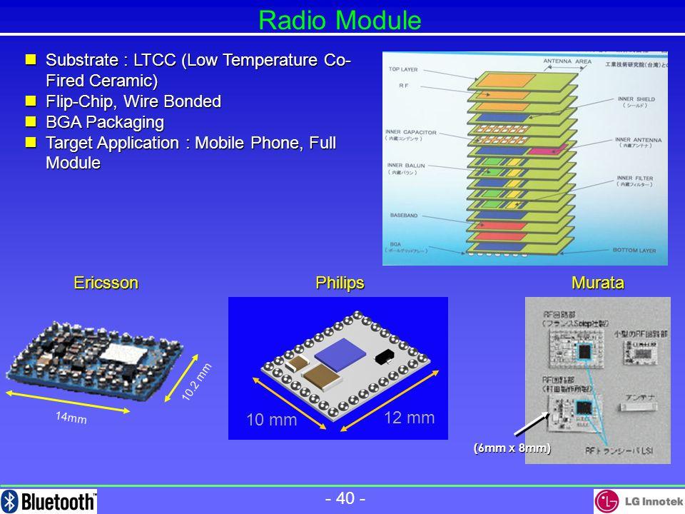 - 39 - Ericsson Components Full Module/RF Module (PCB Substrate & LTCC) LucentPhilips '00/10 ~ 100 / '00/10 ~ 100 / Lucent RF Module (LTCC) Lucent- Er