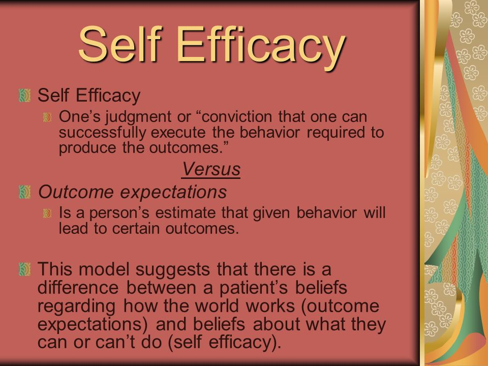 Self Efficacy Ones judgment or conviction that one can successfully execute the behavior required to produce the outcomes.