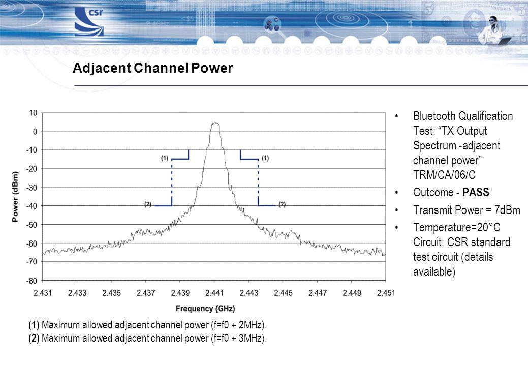 Adjacent Channel Power Bluetooth Qualification Test: TX Output Spectrum -adjacent channel power TRM/CA/06/C Outcome - PASS Transmit Power = 7dBm Tempe