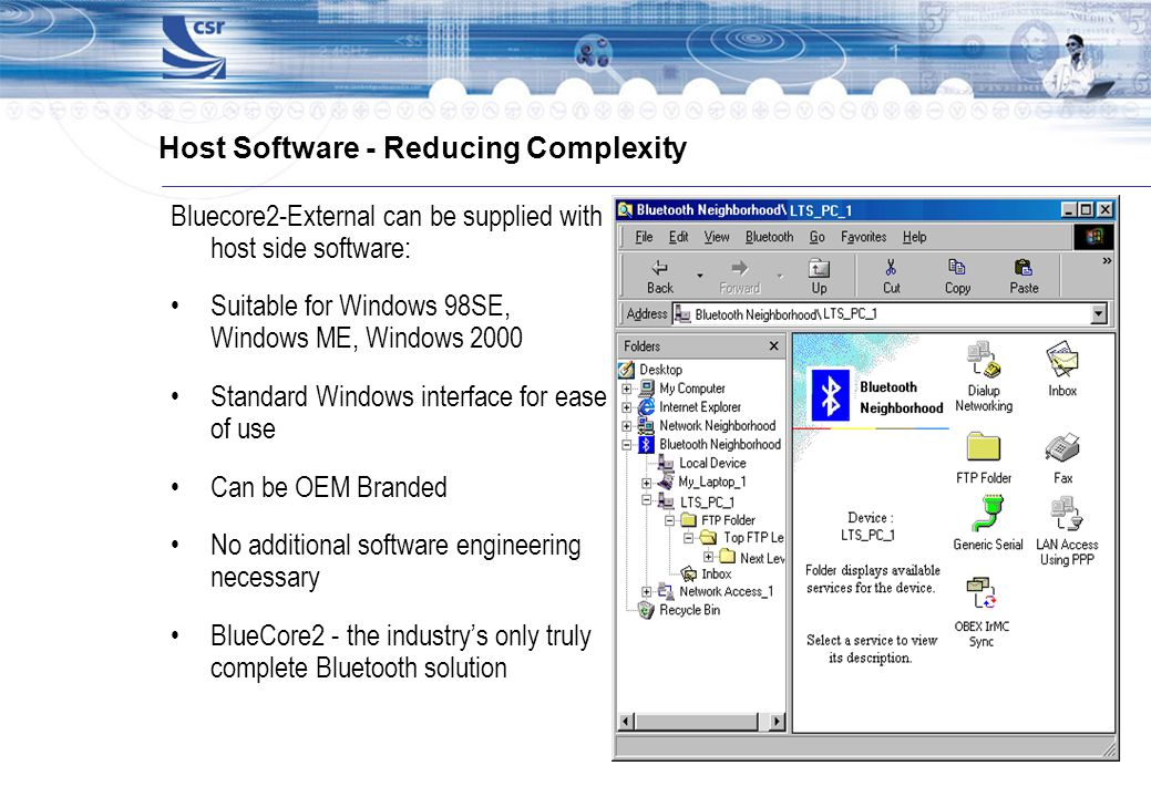 Host Software - Reducing Complexity Bluecore2-External can be supplied with host side software: Suitable for Windows 98SE, Windows ME, Windows 2000 St