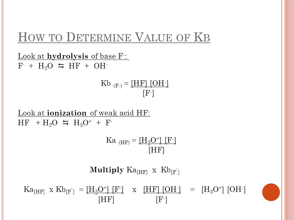 H OW TO D ETERMINE V ALUE OF K B Ka (HF) x Kb (F - ) = Kw Or Kb (F - ) = Kw Ka (HF) In general: Kb (weak base) = Kw Ka (its conj.