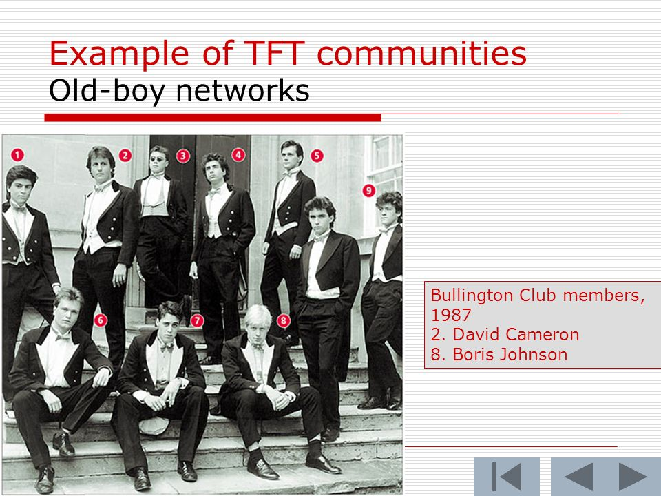 35 Example of TFT communities Old-boy networks Bullington Club members,