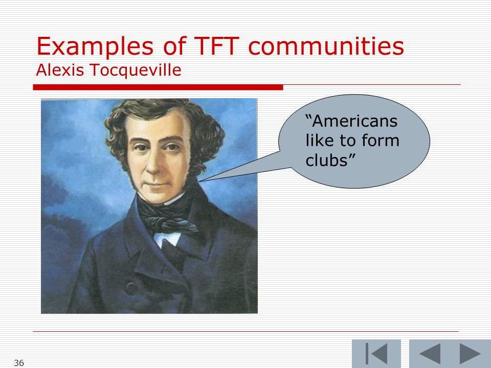 36 Examples of TFT communities Alexis Tocqueville Americans like to form clubs