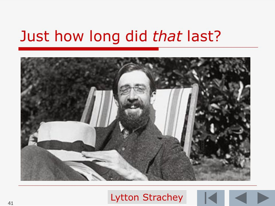 Just how long did that last? 41 Lytton Strachey