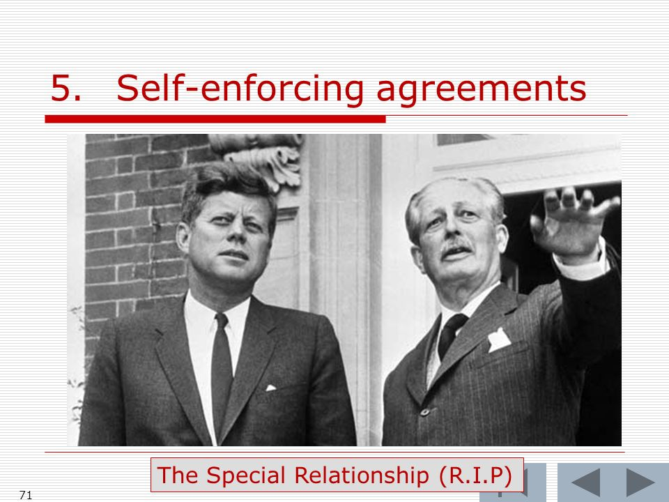 5.Self-enforcing agreements 71 The Special Relationship (R.I.P)