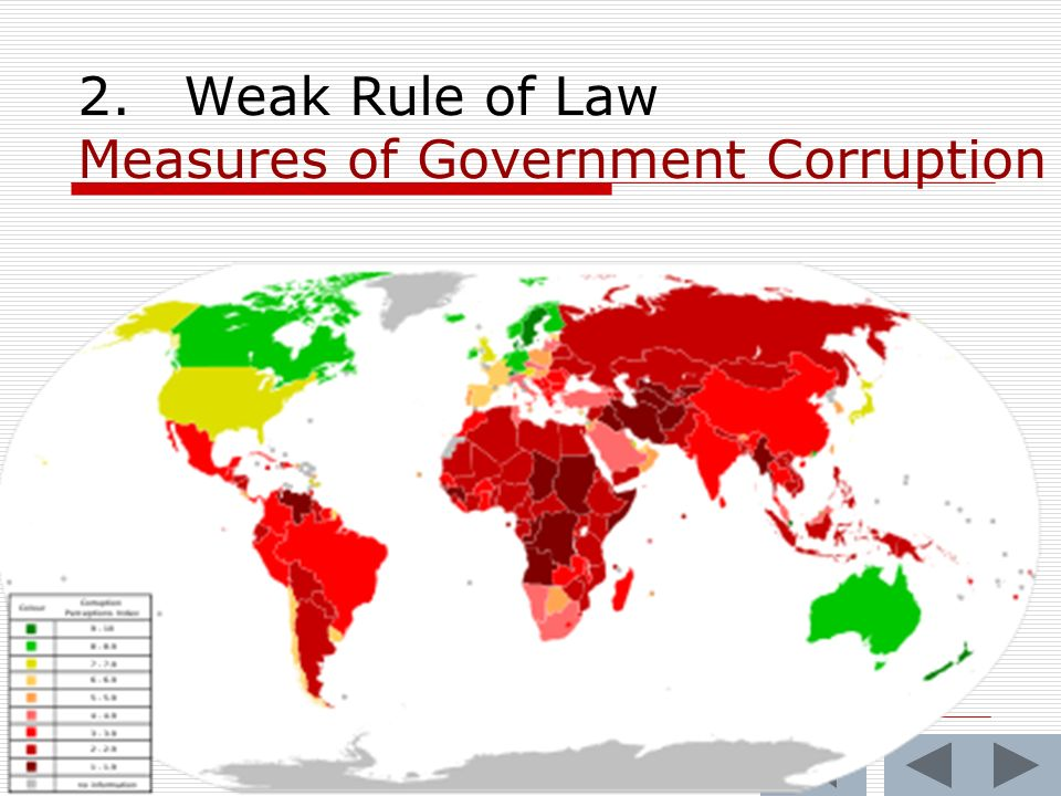 2.Weak Rule of Law Measures of Government Corruption
