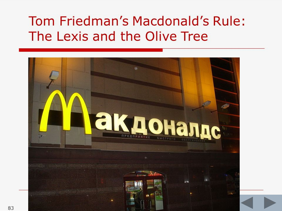 83 Tom Friedmans Macdonalds Rule: The Lexis and the Olive Tree