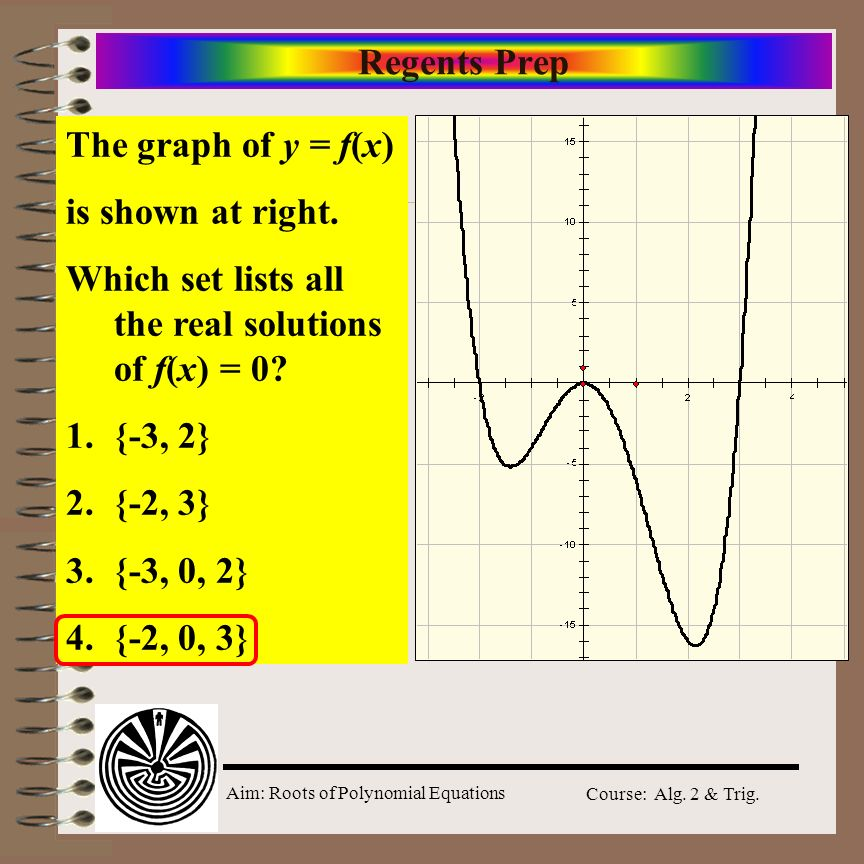 Aim: Roots of Polynomial Equations Course: Alg. 2 & Trig. Regents Prep The graph of y = f(x) is shown at right. Which set lists all the real solutions