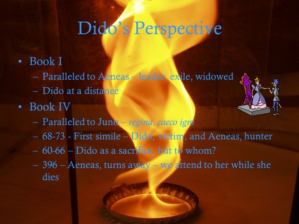 Didos Perspective Book I –Paralleled to Aeneas – leader, exile, widowed –Dido at a distance Book IV –Paralleled to Juno – regina, caeco igni –68-73 - First simile – Dido, victim, and Aeneas, hunter –60-66 – Dido as a sacrifice, but to whom.
