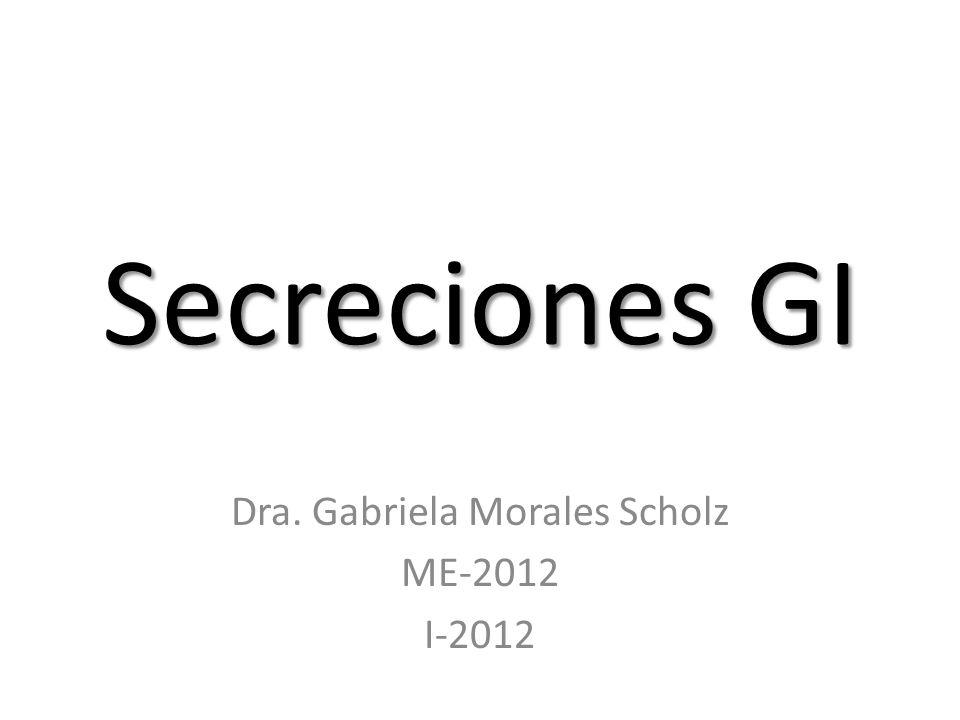 Secreciones GI Dra. Gabriela Morales Scholz ME-2012 I-2012