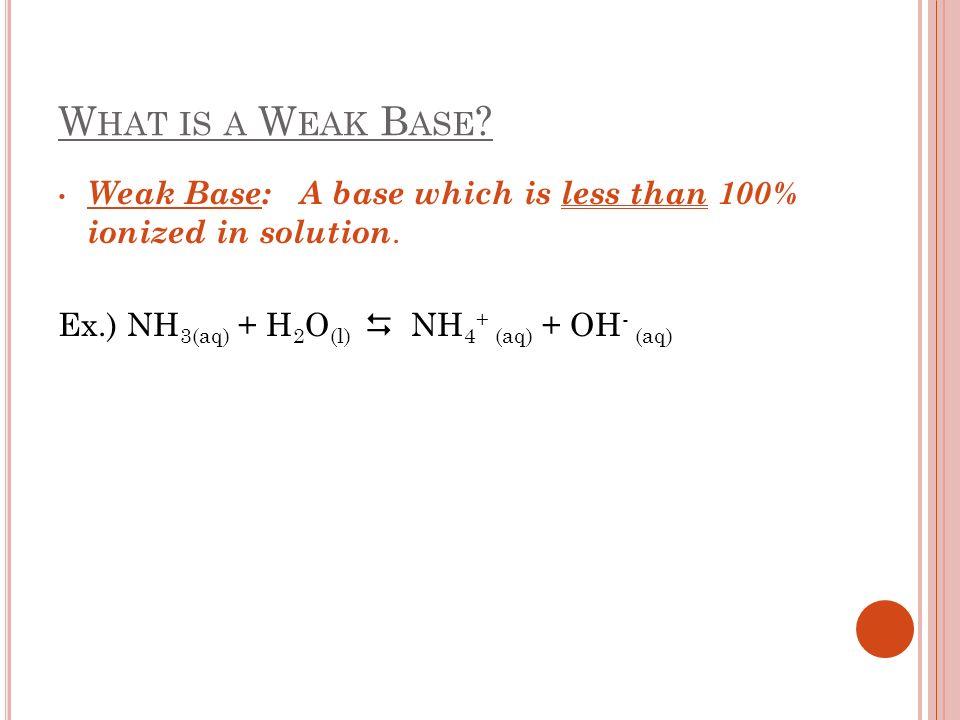 W HAT IS A W EAK B ASE ? Weak Base: A base which is less than 100% ionized in solution. Ex.) NH 3(aq) + H 2 O (l) NH 4 + (aq) + OH - (aq)
