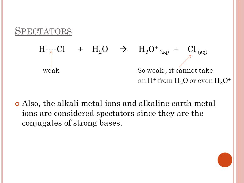 S PECTATORS H----Cl + H 2 O H 3 O + (aq) + Cl - (aq) weak So weak, it cannot take an H + from H 2 O or even H 3 O + Also, the alkali metal ions and al
