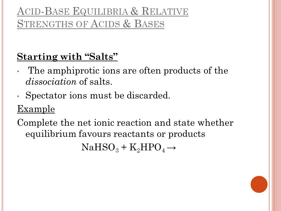 A CID -B ASE E QUILIBRIA & R ELATIVE S TRENGTHS OF A CIDS & B ASES Starting with Salts The amphiprotic ions are often products of the dissociation of